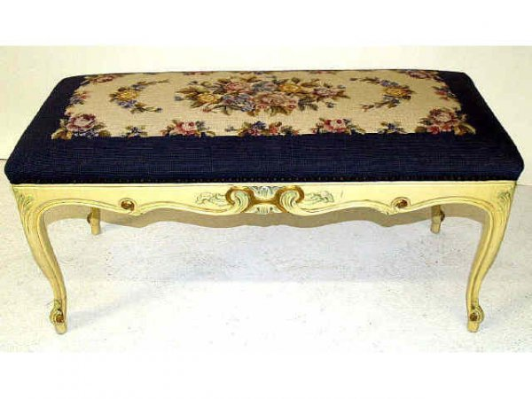414: FRENCH NEEDLE POINT UPHOLSTERED BENCH