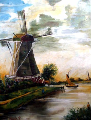 416: SIGNED DUTCH OIL PAINTING WINDMILL CA. 1930'S