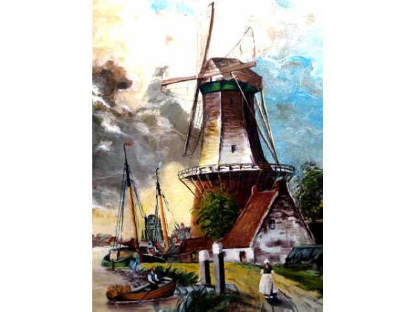 417: SIGNED DUTCH OIL PAINTING 1931