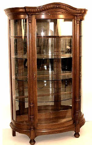 467: AMERICAN CURVED GLASS CHINA CABINET BOSTON