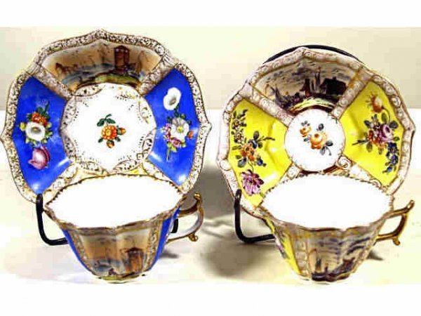 715: TWO MEISSEN CUPS & SAUCERS AUGUSTS REX