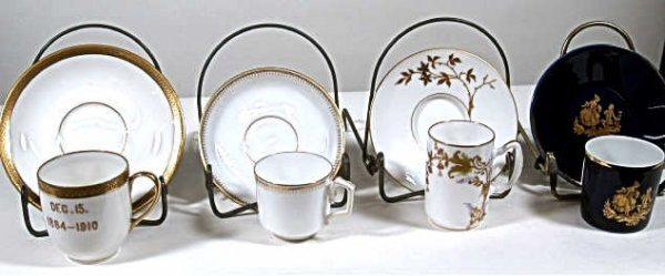 717: FOUR LIMOGE CUP & SAUCER SETS ONE DATED