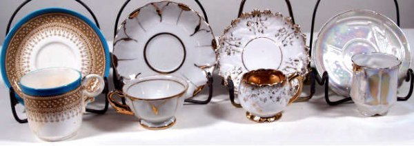 719: FOUR CUP & SAUCER SETS ROYAL WORCESTER 1880