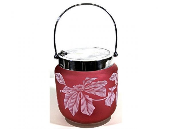 848: WEBB BISCUIT BARREL FLORAL SATIN GLASS