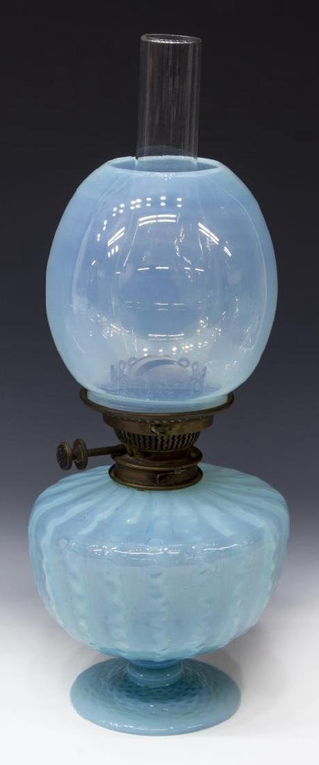 VICTORIAN HINKS & SONS BLUE OPALESCENT OIL LAMP