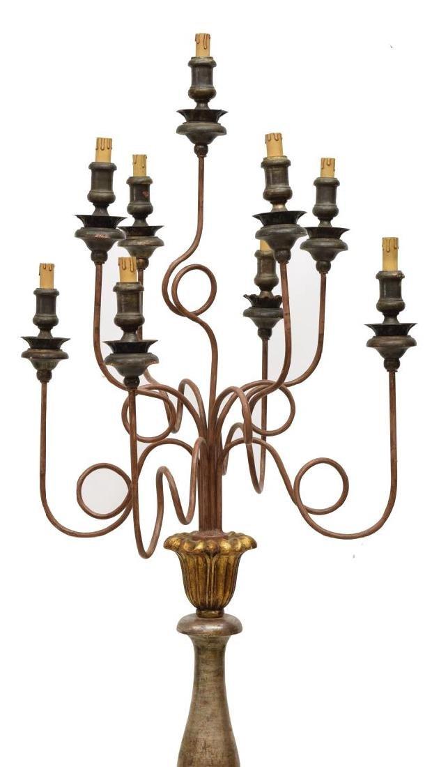 BAROQUE STYLE PARCEL GILT FLOOR LAMP