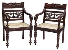 (2) BRITISH COLONIAL STYLE MAHOGANY OPEN ARMCHAIRS