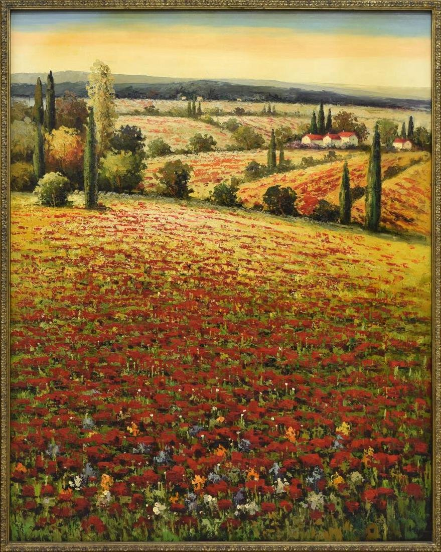 LARGE ITALIAN PAINTING ON CANVAS, POPPY FIELDS