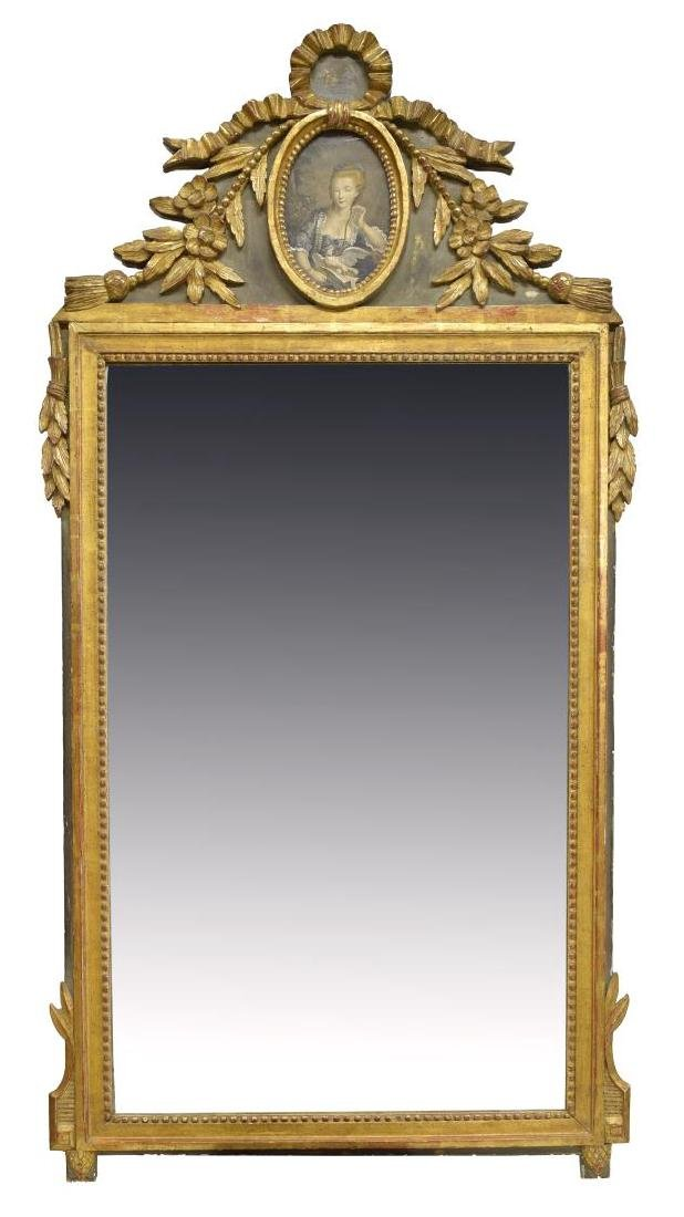 LARGE FRENCH LOUIS XVI STYLE GILTWOOD WALL MIRROR