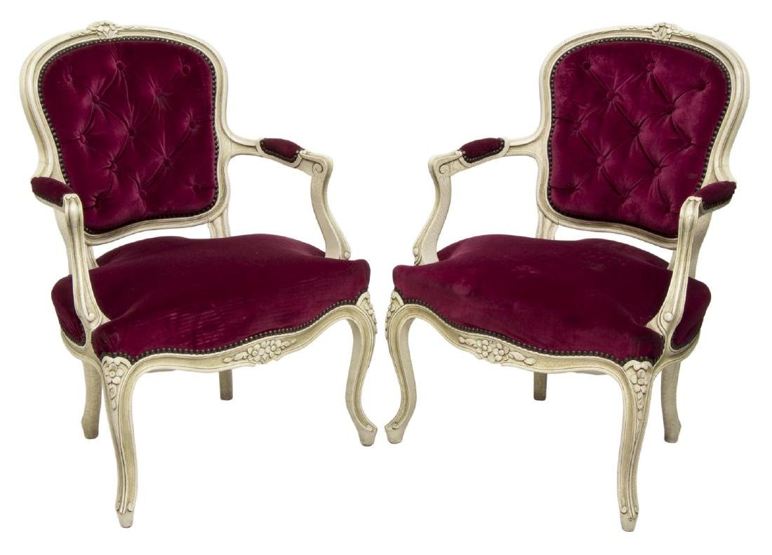 (2) LOUIS XV STYLE FLORAL CARVED PAINTED ARMCHAIRS