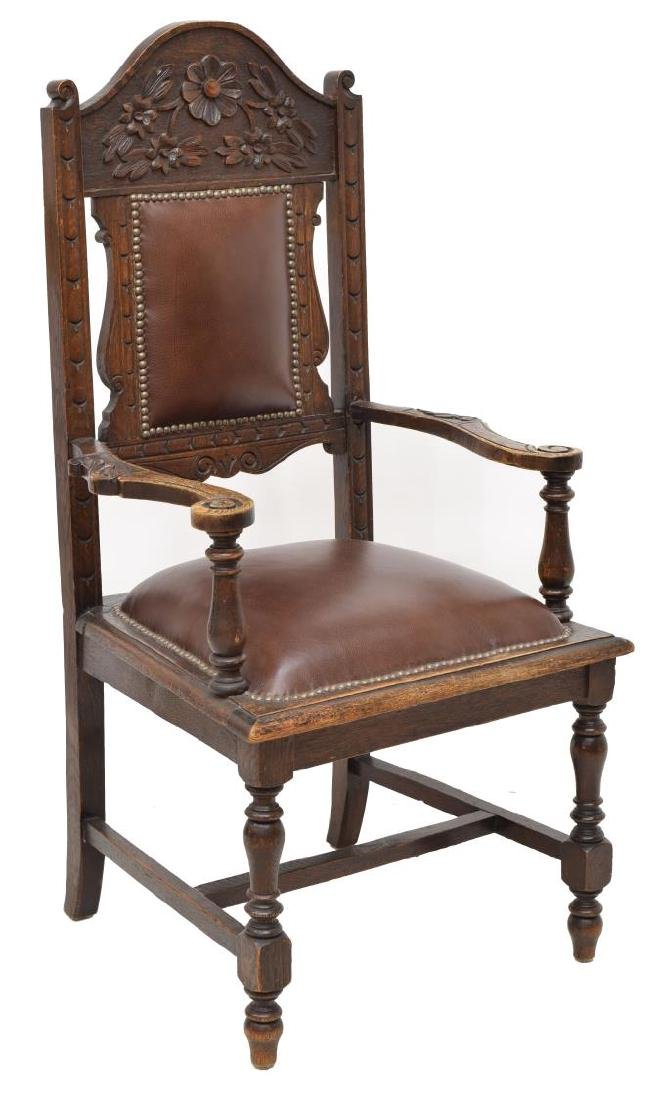 FLORAL CARVED OAK ARM CHAIR