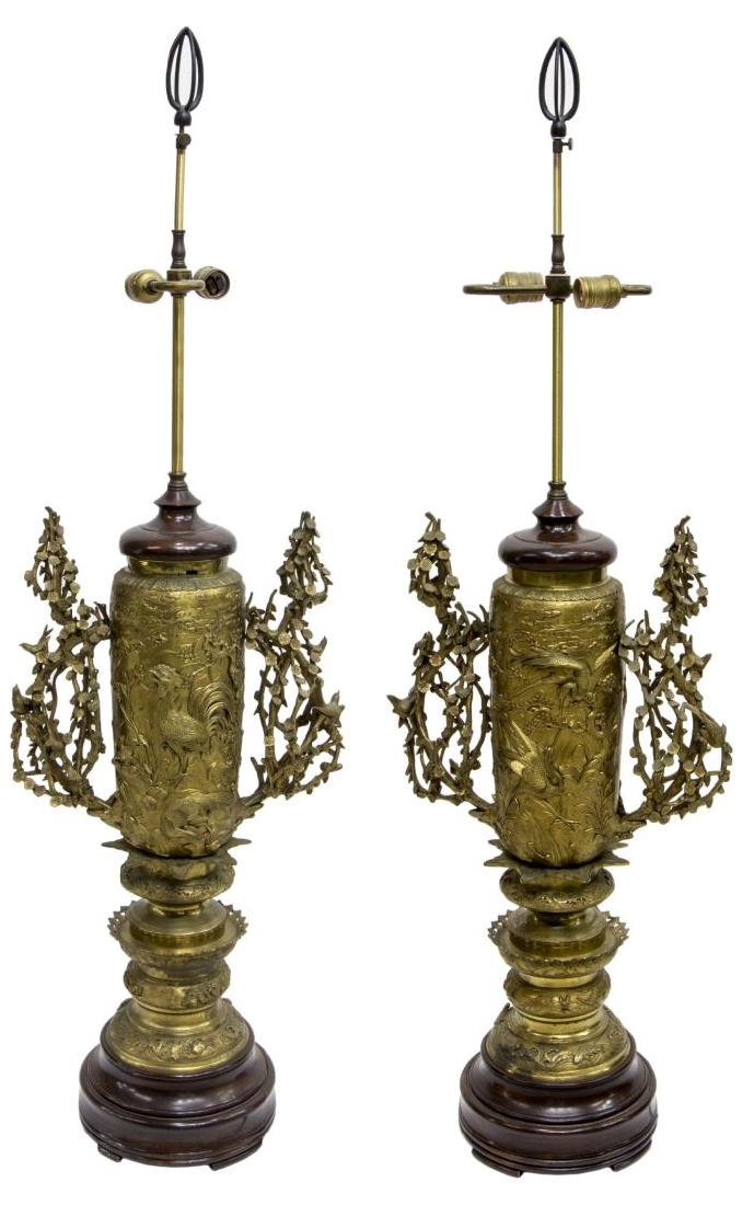 (2)MONUMENTAL JAPANESE GILT BRONZE 2LT TABLE LAMPS