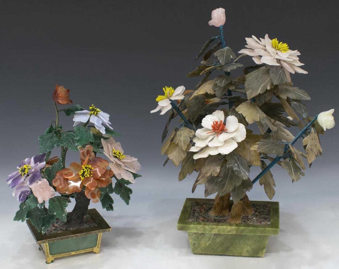 (2) CHINESE HARDSTONE FLOWERING TREES