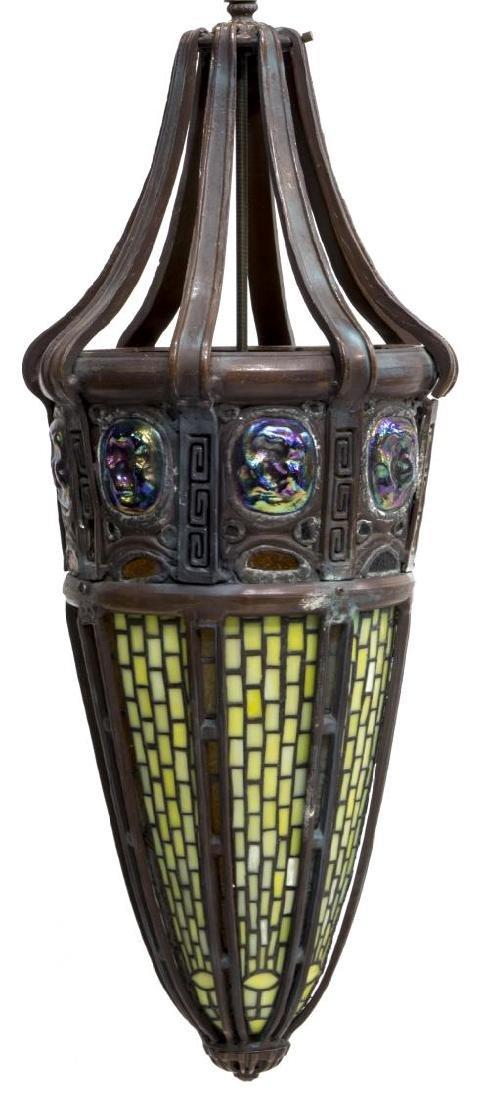 TIFFANY STYLE LEADED GLASS PENDANT CHANDELIER