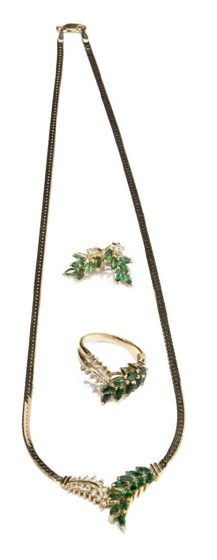 (4PC) ITALIAN EMERALD & DIAMOND GOLD JEWELRY SUITE