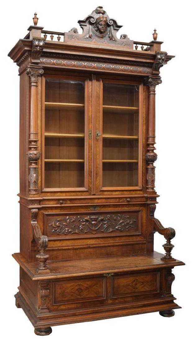 FRENCH MAHOGNY/WALNUT BOOKCASE BENCH, 19TH C.,