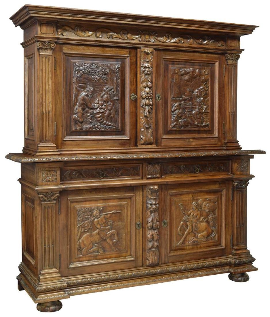 CONTINENTAL CARVED WALNUT SIDEBOARD