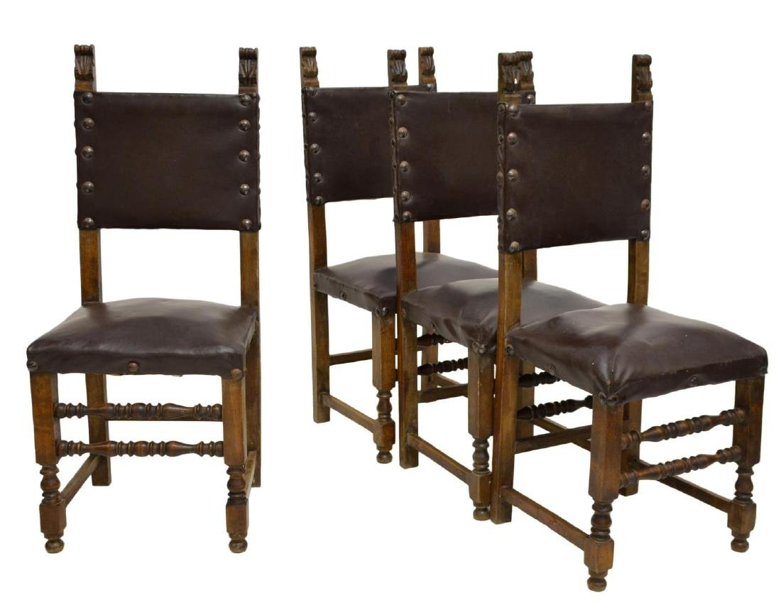 (4) ITALIAN RENAISSANCE REVIVAL SIDE CHAIRS