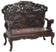 EXCEPTIONAL PIERCED  RELIEF CARVED CHINESE BENCH