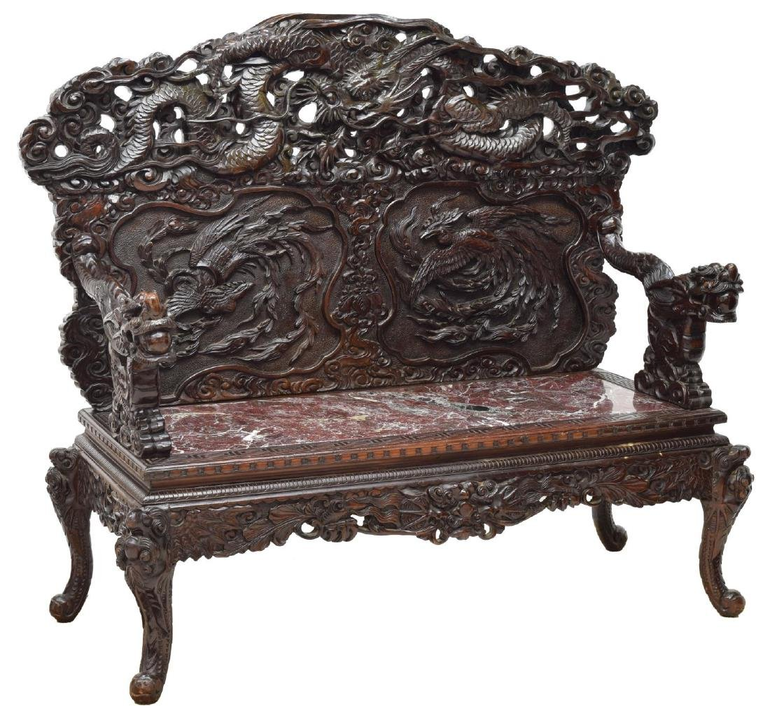 EXCEPTIONAL PIERCED & RELIEF CARVED CHINESE BENCH