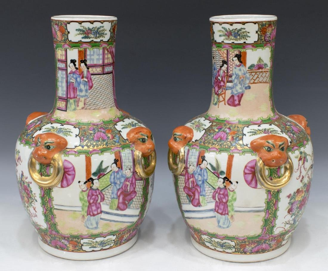 (PAIR) CHINESE FAMILLE ROSE PORCELAIN VASES