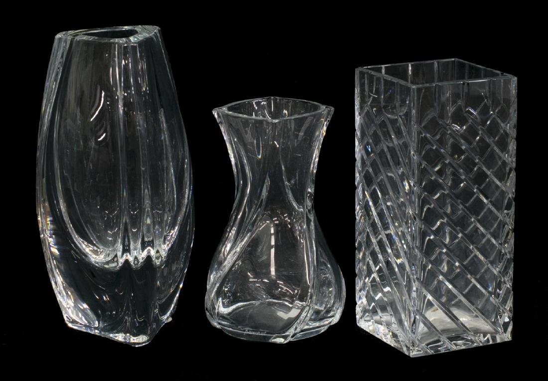 (3) COLLECTION OF BACCARAT ART CRYSTAL VASES