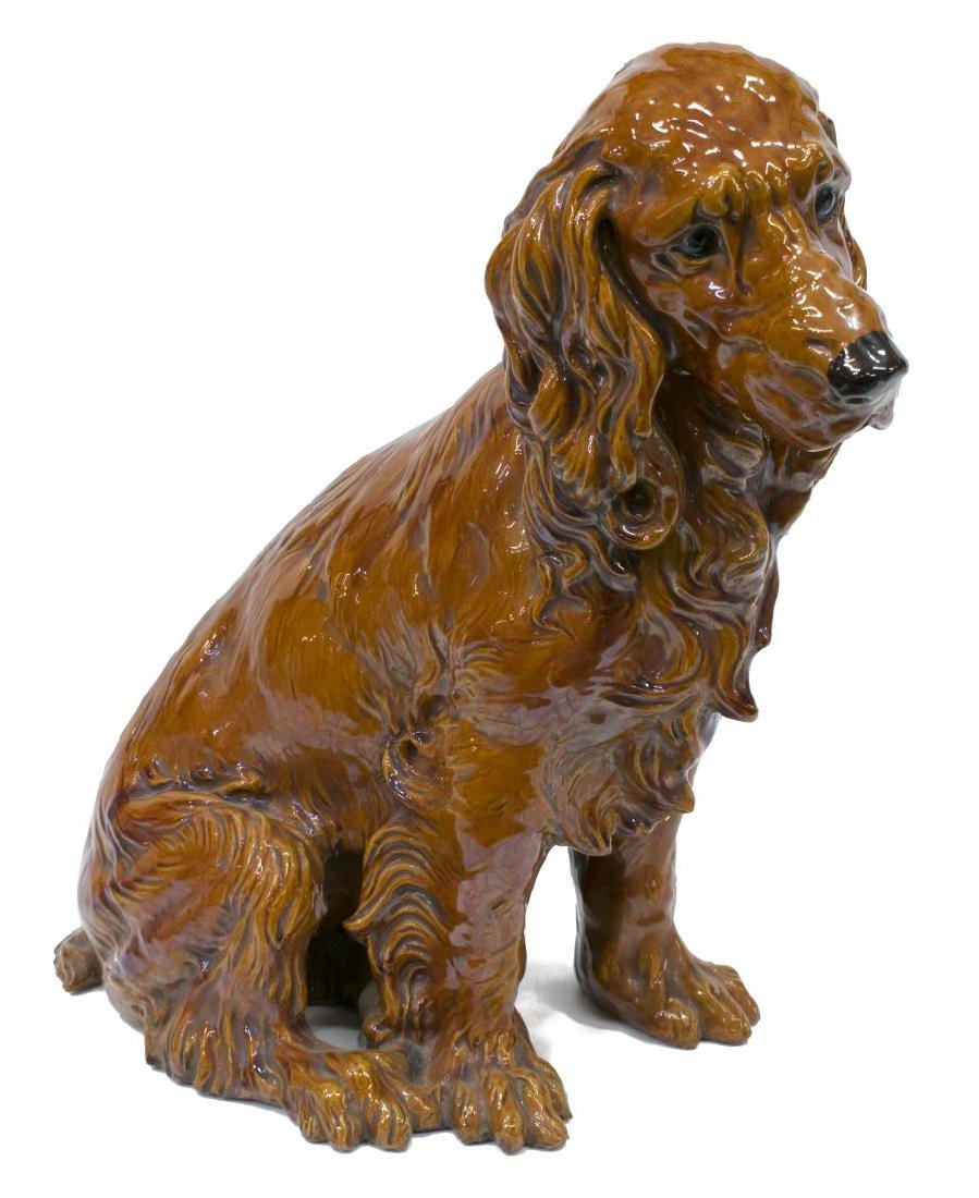 LARGE CERAMIC SEATED SPANIEL DOG SCULPTURE