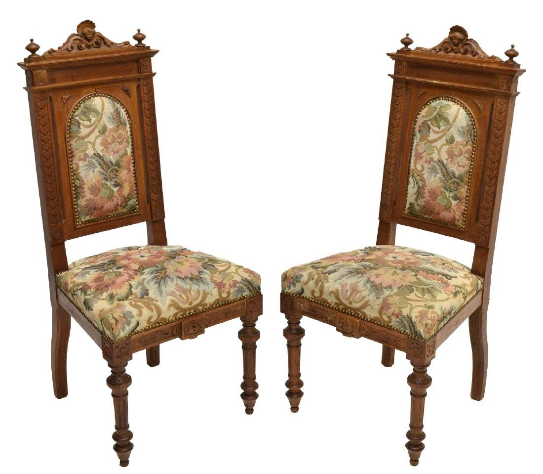 (2) ITALIAN CARVED & UPHOLSTERED CHAIRS