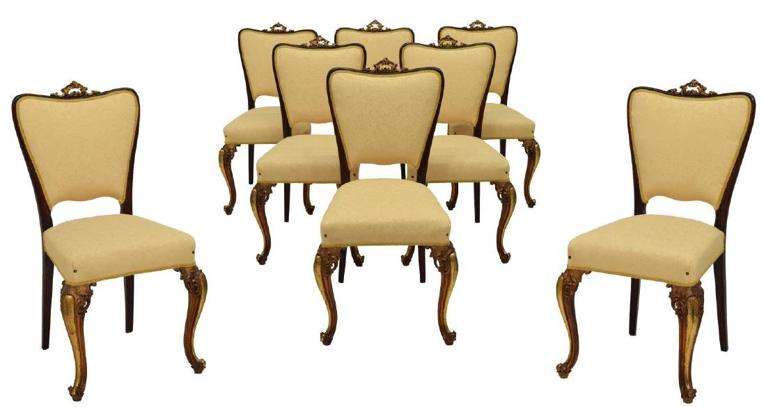 (8) LOUIS XV STYLE PARCEL GILT DINING CHAIRS
