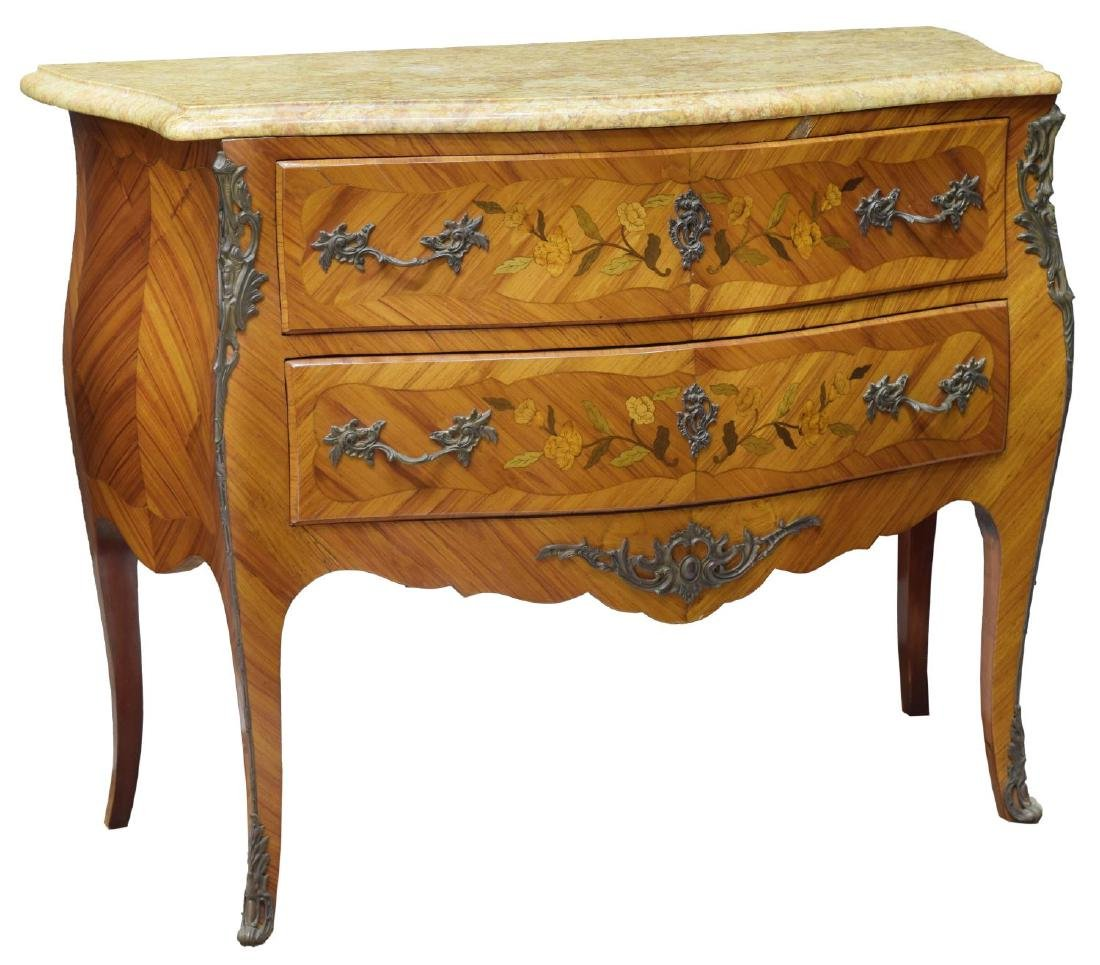 LOUIS XV STYLE FLORAL MARQUETRY MARBLE TOP COMMODE