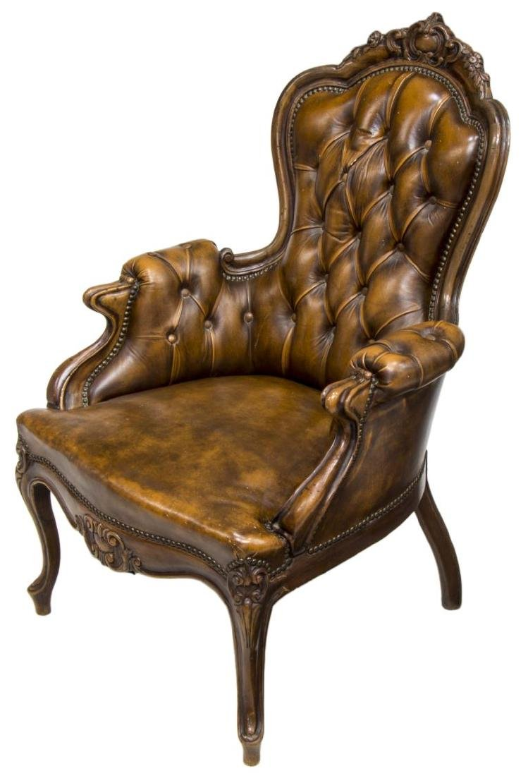 ITALIAN CARVED WOOD & LEATHER BUTTON BACK ARMCHAIR