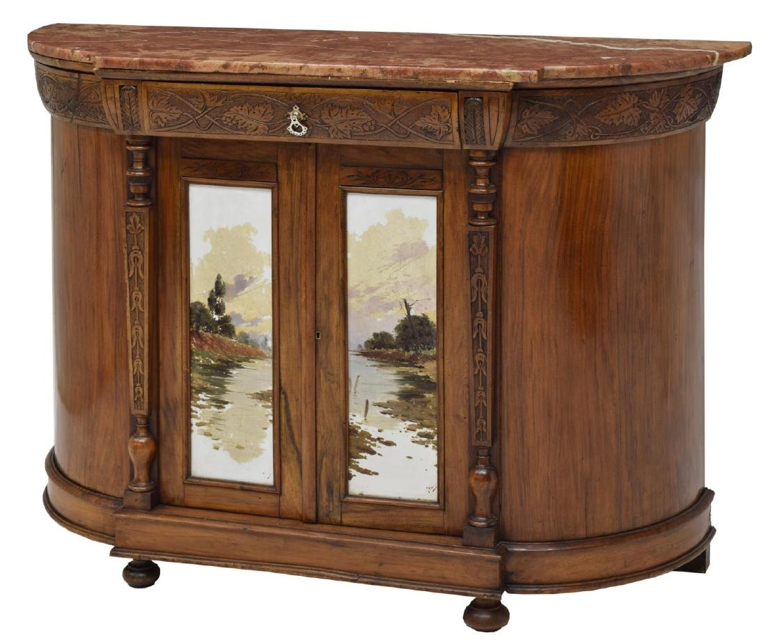 DEMILUNE MARBLE-TOP CARVED SIDEBOARD