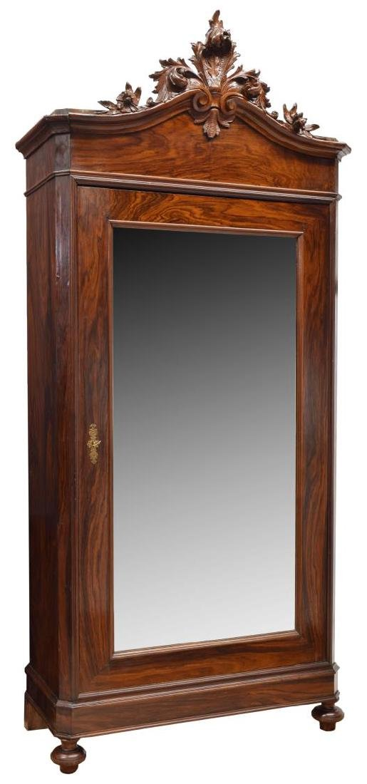 VICTORIAN MAHOGANY CARVED, MIRRORED ARMOIRE