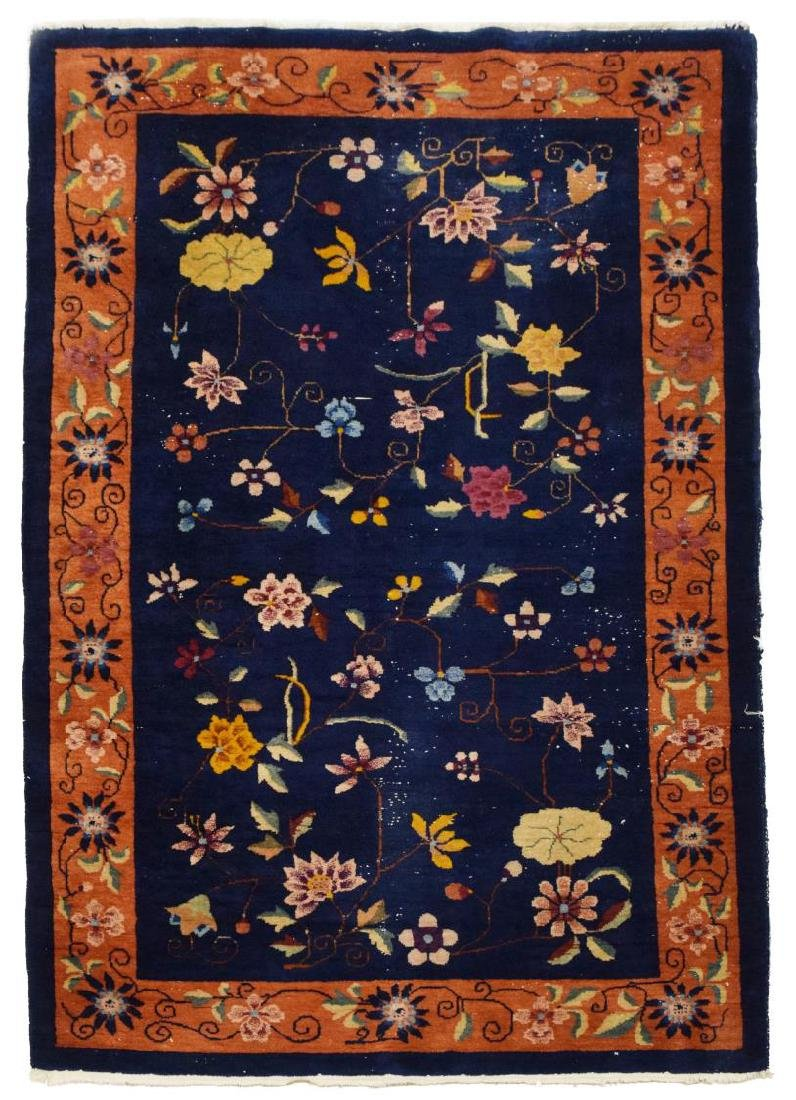 """CHINESE ART DECO FLORAL RUG, 7'7"""" X 5'0"""""""