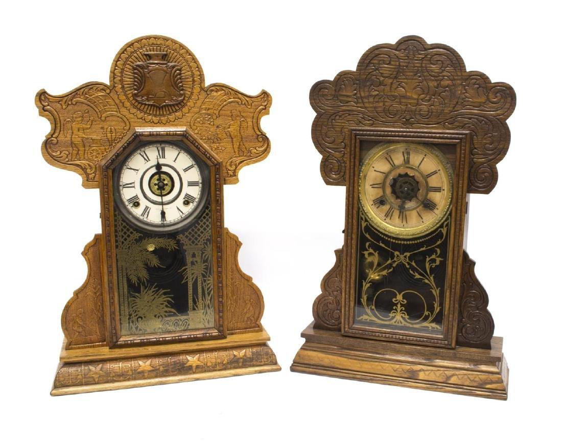 (2) AMERICAN GINGERBREAD KITCHEN CLOCKS, ALARMS