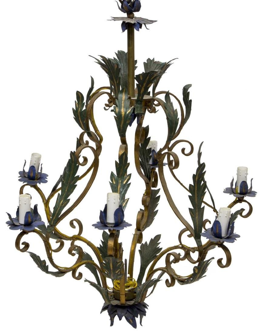 CONTINENTAL PARCEL GILT METAL & FOLIATE CHANDELIER