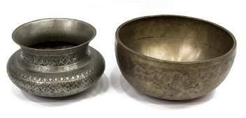 (2) METAL BOWLS, PERSIAN, TIBETAN SINGING BOWL