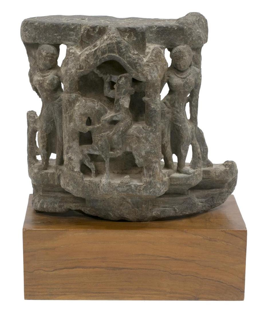 HINDU CARVED STONE SCULPTURE WITH DEITIES