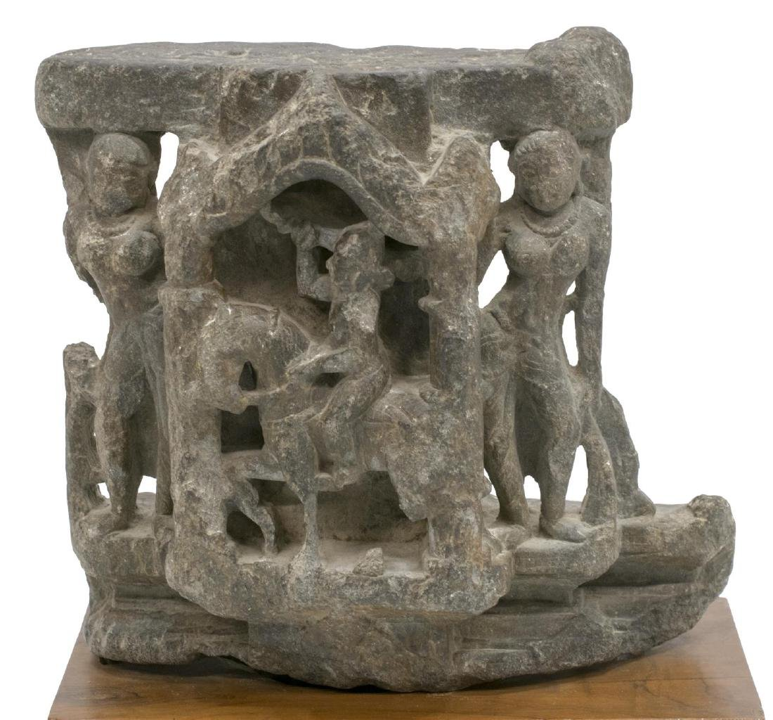 HINDU CARVED STONE SCULPTURE WITH DEITIES - 2