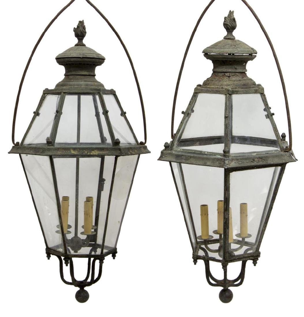 (2) LARGE CONTINENTAL IRON & GLASS 4LT LANTERN