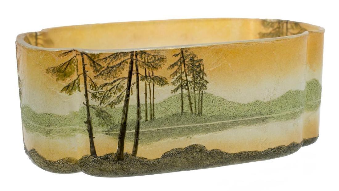 LEGRAS FRANCE LANDSCAPE SCENE ART GLASS VASE - 2