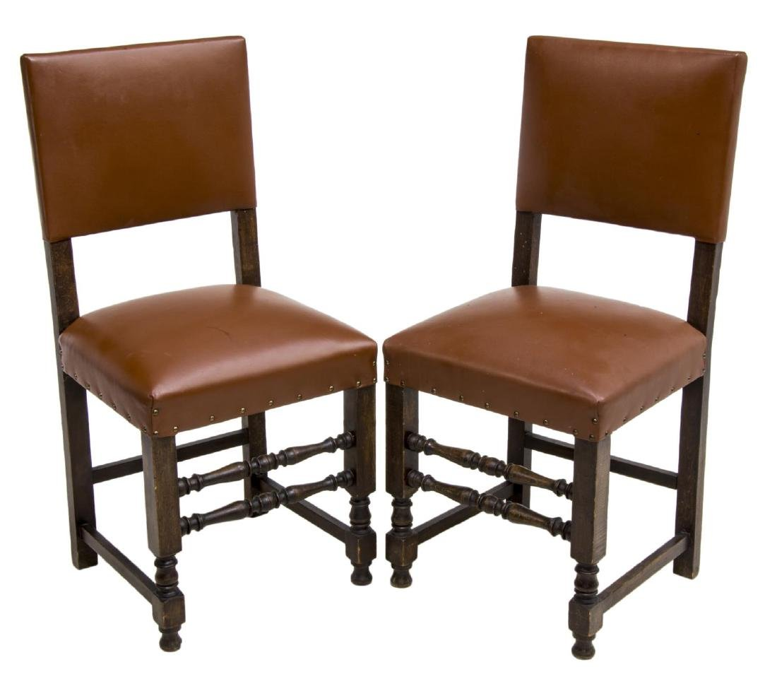 (2) CONTINENTAL OCHRE LEATHER SIDE CHAIRS