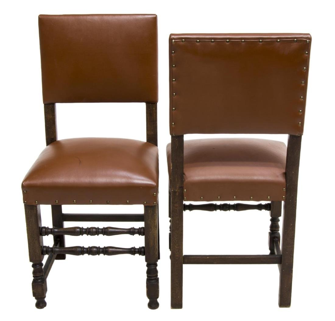 (2) CONTINENTAL OCHRE LEATHER SIDE CHAIRS - 2