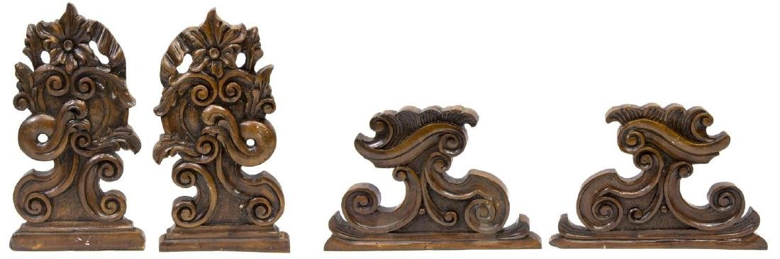 (4) CONTINENTAL CARVED ARCHITECTURAL ELEMENTS