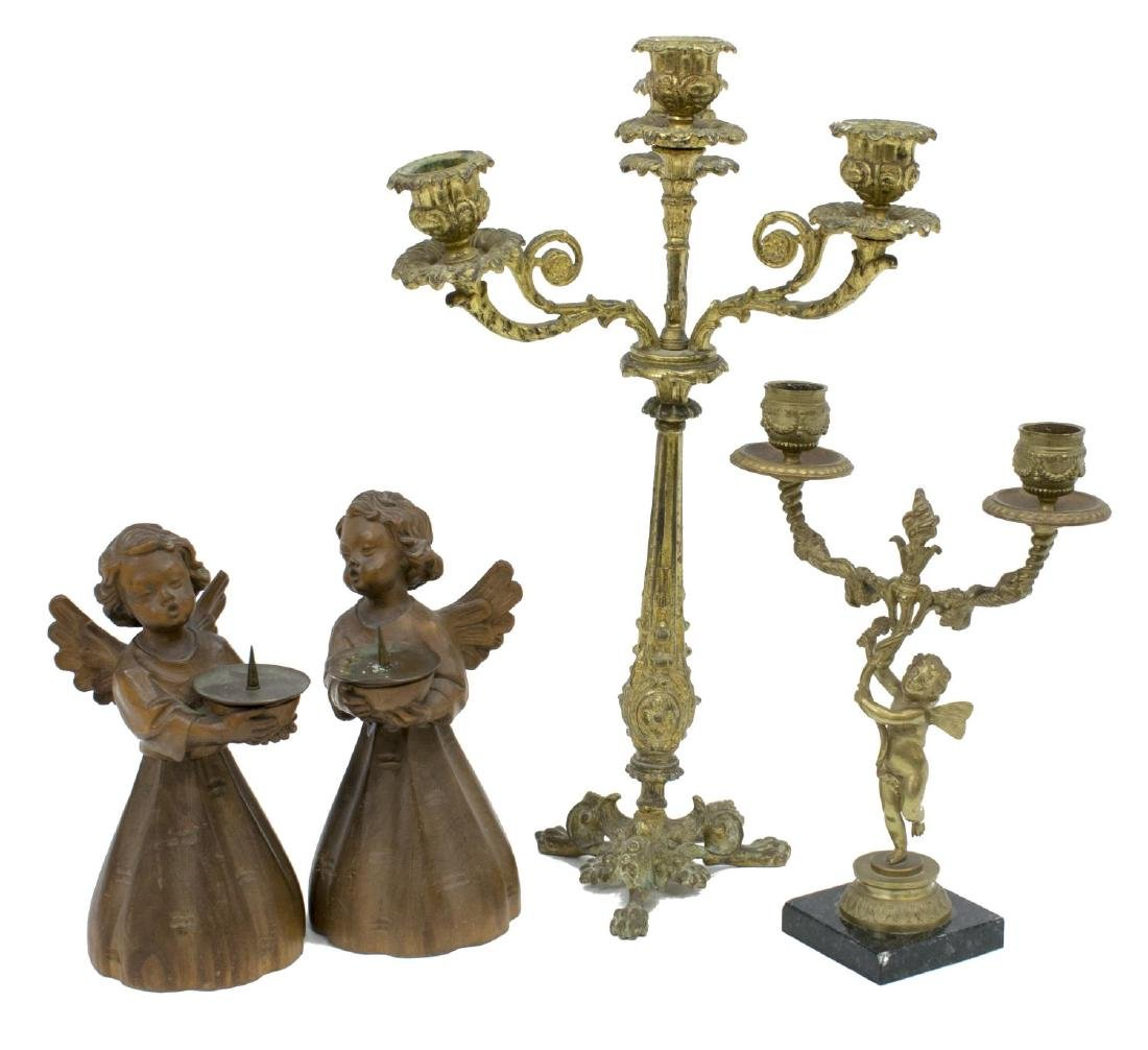 (4)CONTINENTAL BRONZE & CARVED ANGEL CANDLEHOLDERS