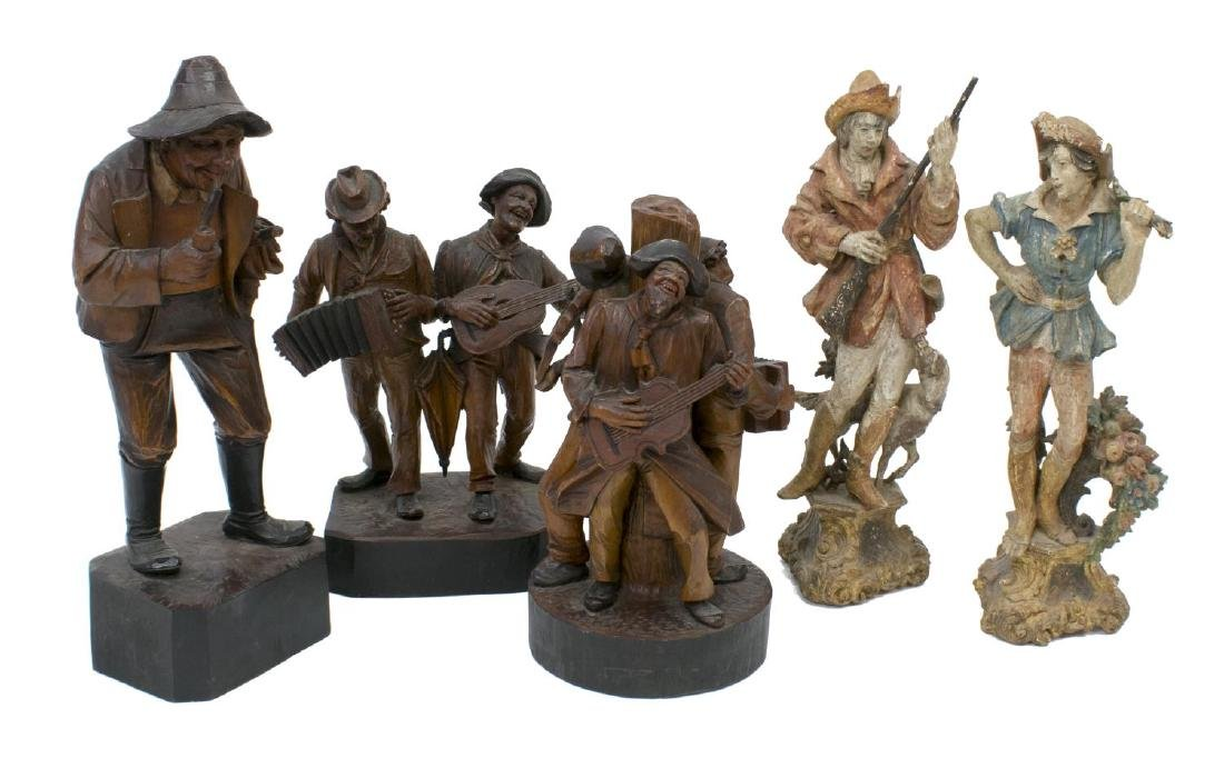 (5) GROUP OF CARVED WOODEN FIGURES