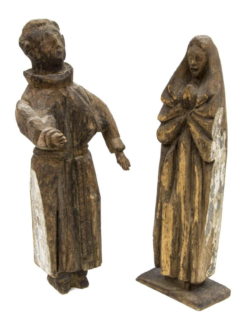 (2) ANTQIUE RELIGIOUS CARVED WOOD FIGURES, MADONNA