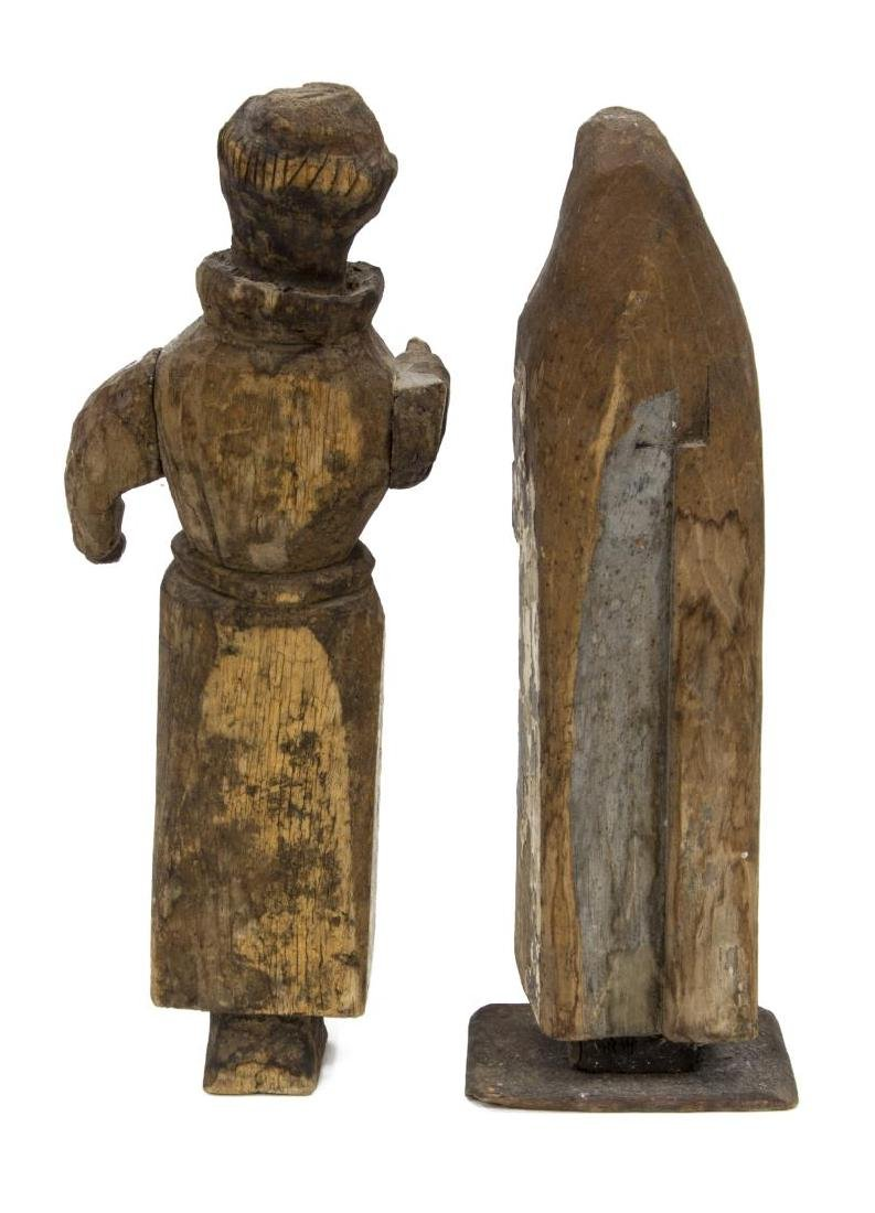 (2) ANTQIUE RELIGIOUS CARVED WOOD FIGURES, MADONNA - 2
