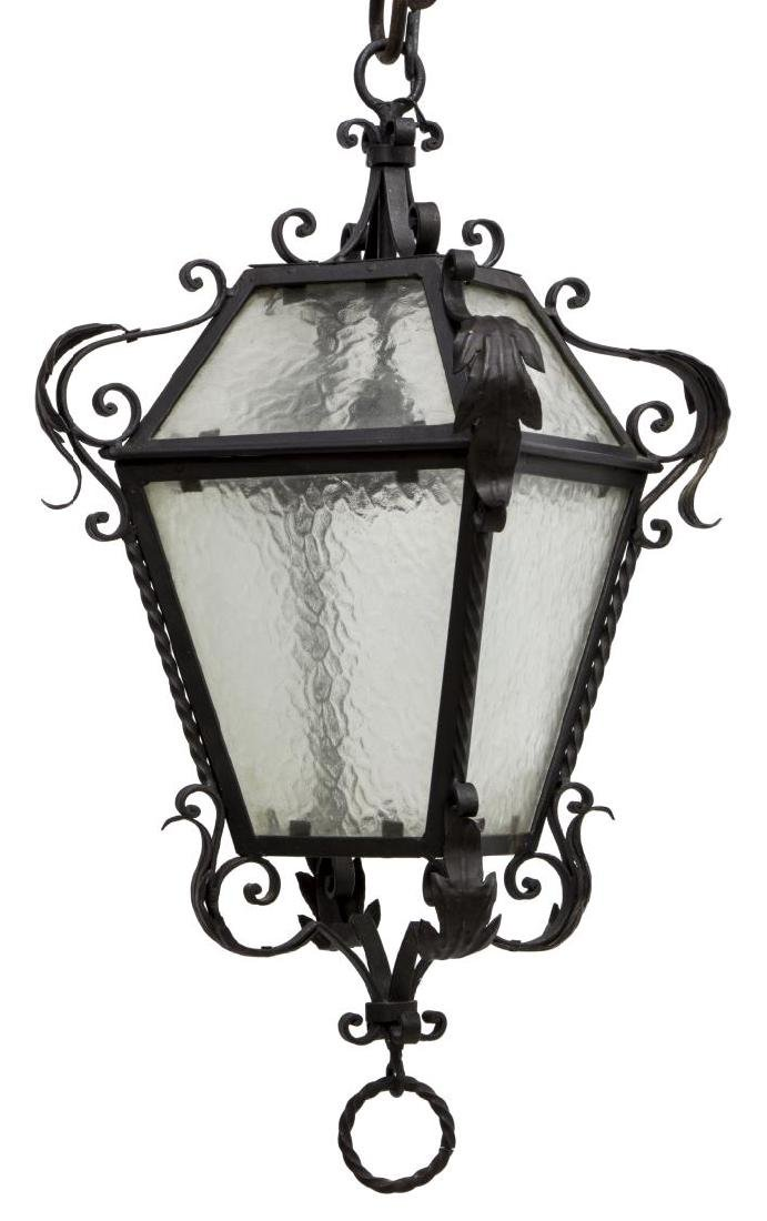 WROUGHT IRON & GLASS HANGING LANTERN LIGHT