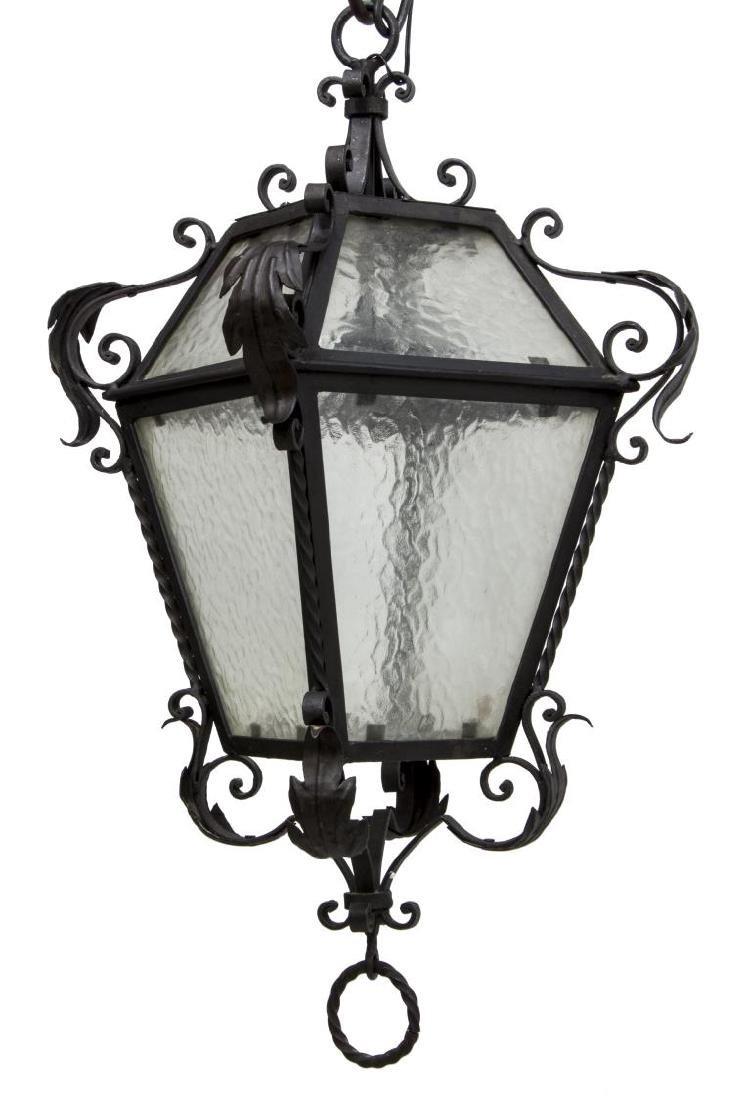 WROUGHT IRON & GLASS HANGING LANTERN LIGHT - 2